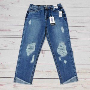 Kensie Women's Retro High Rise Distressed Jeans
